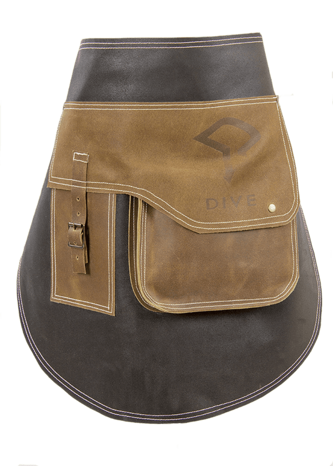 Short Bar Leather Apron Debossing Dive Logo