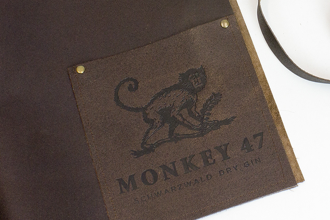 Short Leather Bar Apron Monkey 47 Embossing Leather Apron Debossing