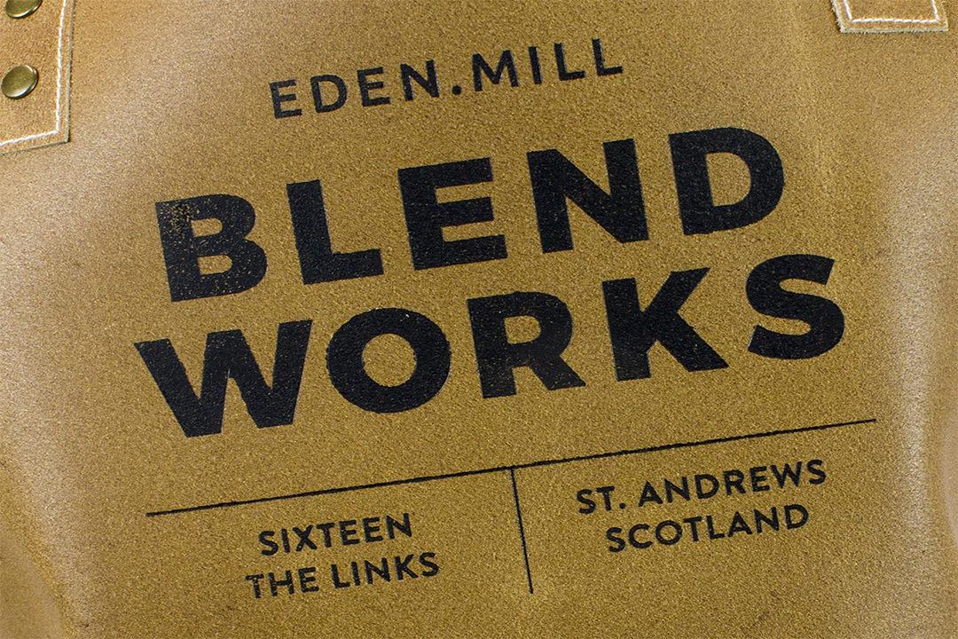 Short Leather Bib Apron Embossing Blend Works Logo - Leather Apron Debossing