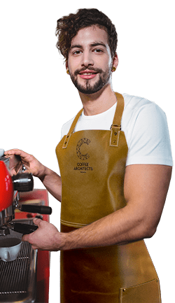 Coffee Architects Barista With Tan Leather Apron