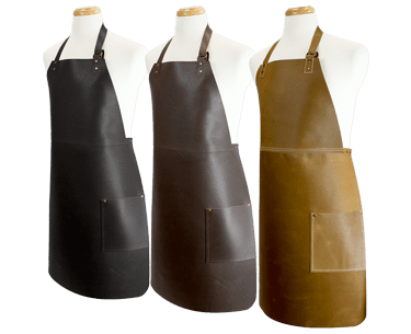 Long Leather Bib Apron
