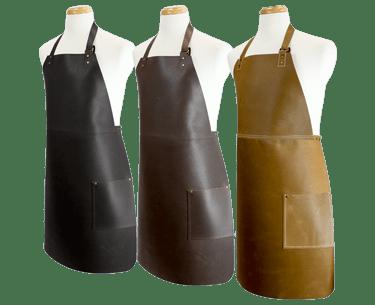 Long Leather Bib Apron