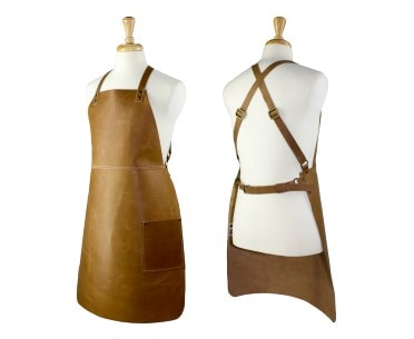 Tan leather cross back leather bib apron